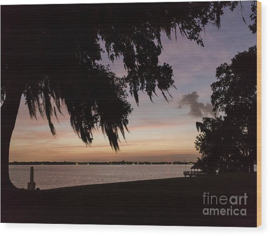 Sunset At Jefferson Island Wood Print by Kelly Morvant