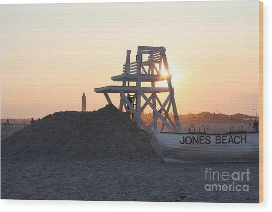 Sunset At Jones Beach Wood Print