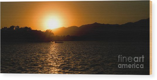 Sunset At Kunming Lake Wood Print