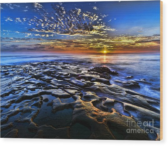 Sunset At La Jolla Tide Pools Wood Print