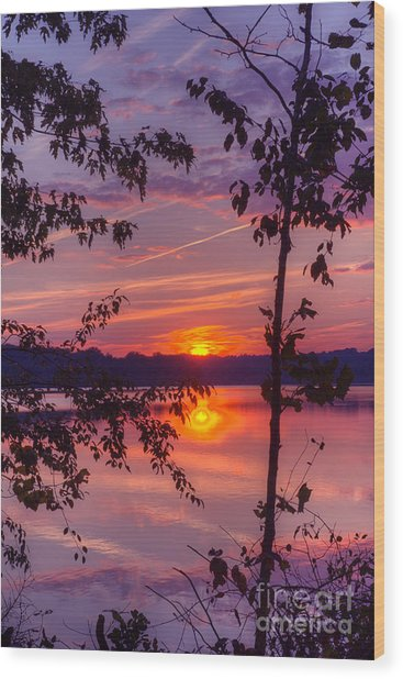 Sunset At Loch Raven Wood Print