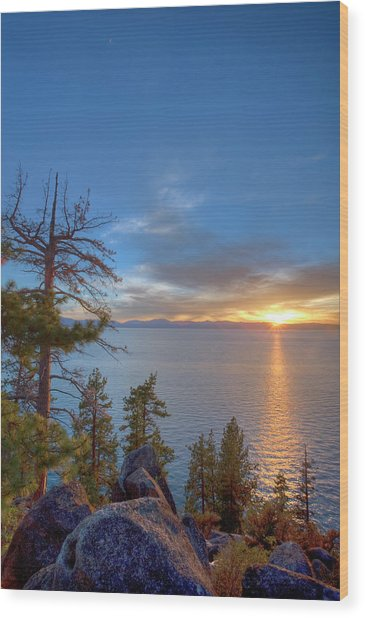 Sunset At Logan Shoals On The East Side Wood Print