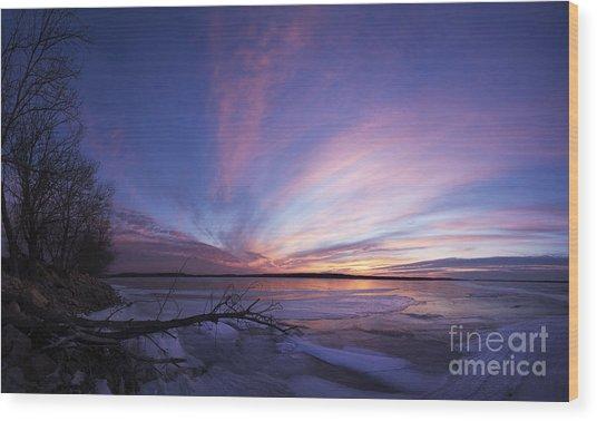 Sunset At Lovewell Lake Kansas Wood Print
