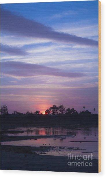 Sunset At Malibu Beach Lagoon Estuary Fine Art Photograph Print Wood Print