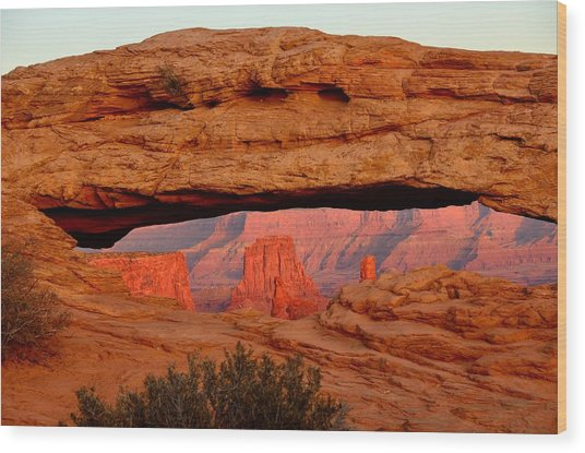 Sunset At Mesa Arch Wood Print