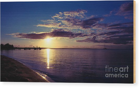 Sunset At Monkey Mia Wood Print