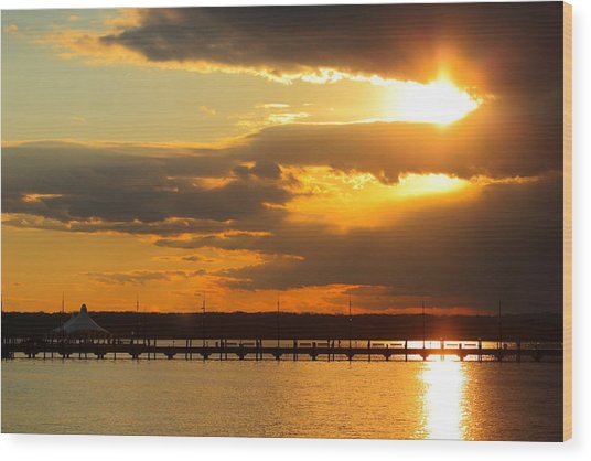 Sunset At National Harbor Wood Print