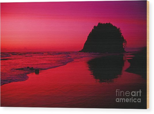 Sunset At Neskowin Beach- Proposal Rock Wood Print