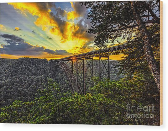 Sunset At New River Gorge Bridge Wood Print by Mark East