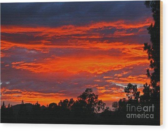 Sunset At Night Wood Print by Kenny Bosak