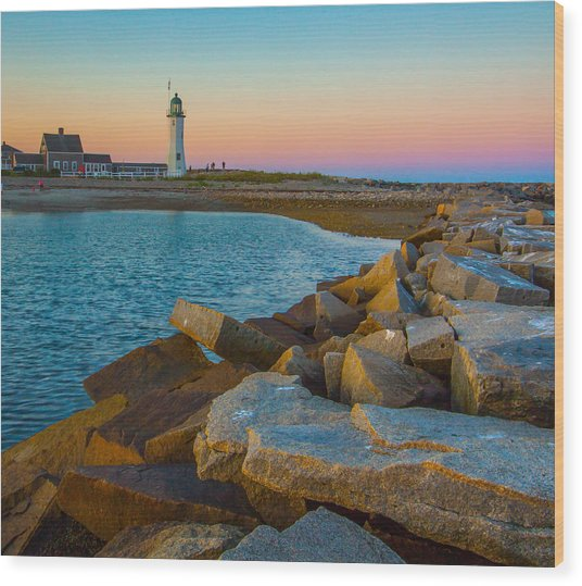 Sunset At Old Scituate Lighthouse Wood Print
