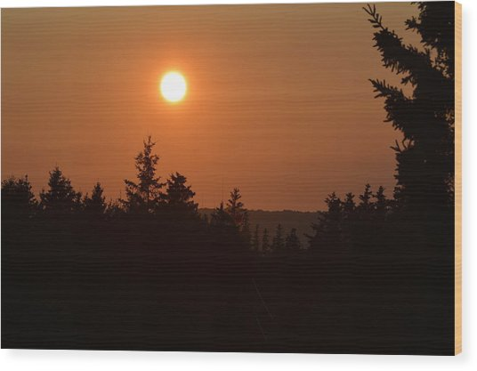 Sunset At Owl's Head Wood Print