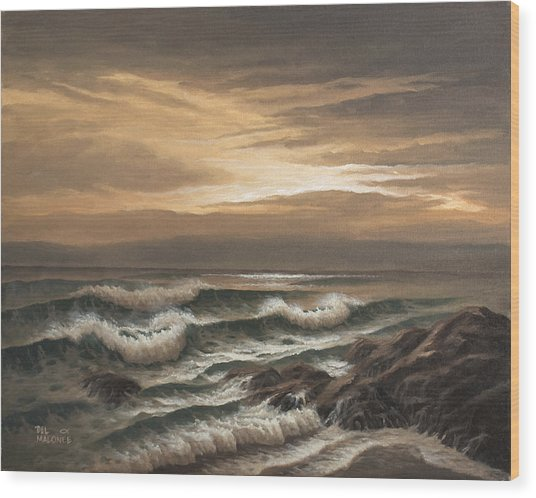 Sunset At Pacific Grove Wood Print