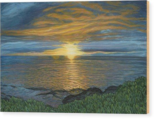 Sunset At Paradise Cove Wood Print