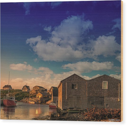 Sunset At Peggy's Cove 05 Wood Print