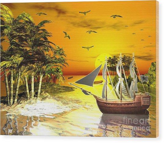 Sunset At Pirates Cove Wood Print