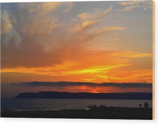 Sunset At Point Loma From Coronado California Wood Print