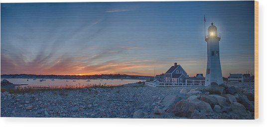 Sunset At Scituate Light Wood Print
