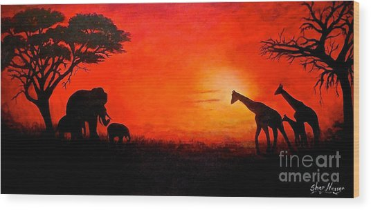 Sunset At Serengeti Wood Print