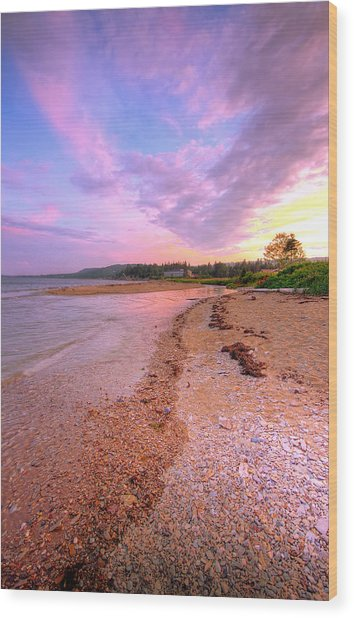 sunset at Stanley Beach. Wood Print