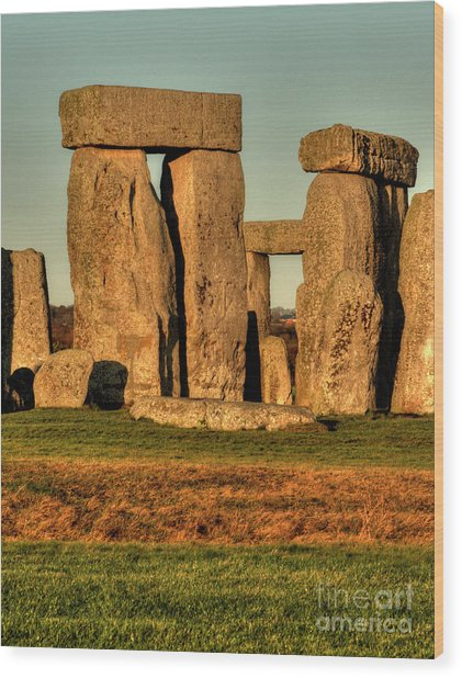 Sunset At Stonehenge 2 Wood Print