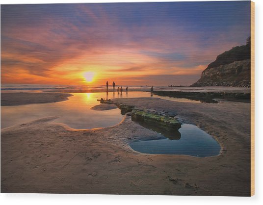 Sunset At Swamis Beach 5 Wood Print