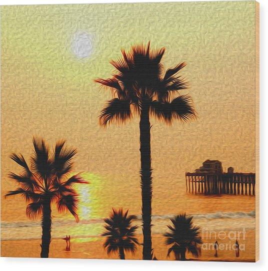 Sunset At The Beach In Oceanside California Wood Print