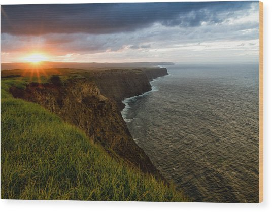 Sunset At The Cliffs Wood Print