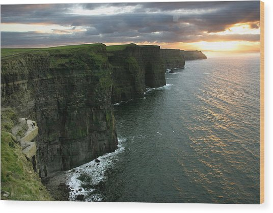 Sunset At The Cliffs Of Moher Ireland Wood Print