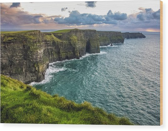 Sunset At The Cliffs Of Moher Wood Print