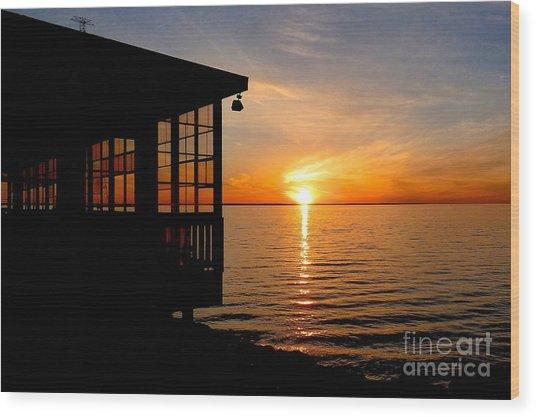 Sunset At The Crab Shack Wood Print