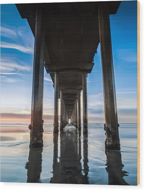 Sunset At The Iconic Scripps Pier Wood Print