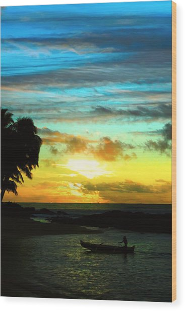 Sunset At The Luau Wood Print