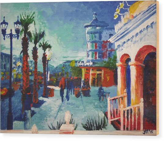 Wood Print featuring the painting Sunset At The Market Common by Jennifer Hotai