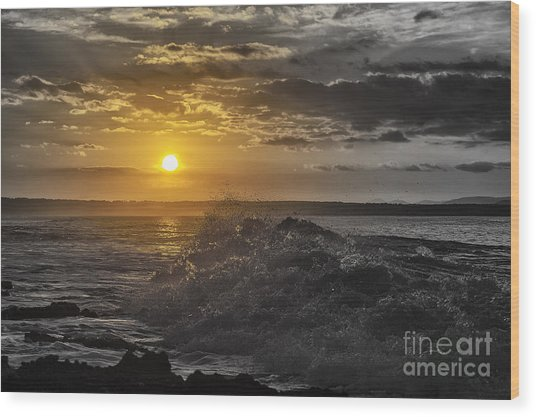 Sunset At The Ocean Wood Print