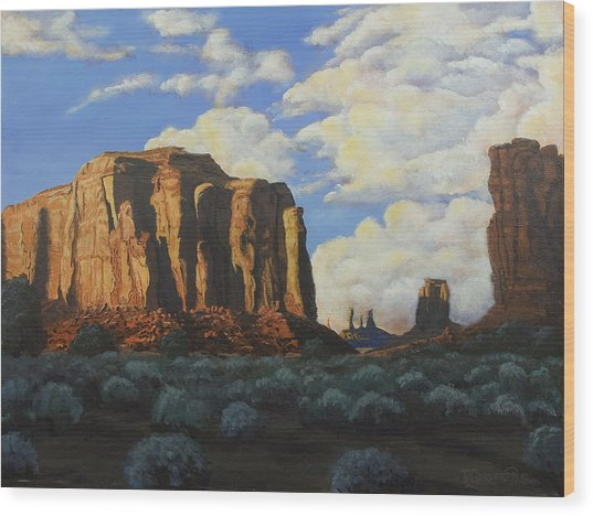 Sunset At The Window Monument Valley Wood Print