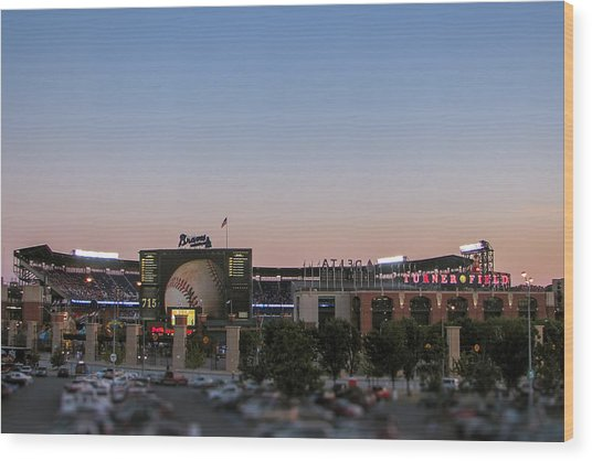 Sunset At Turner Field Wood Print