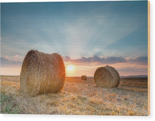Sunset Bales Wood Print