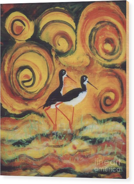 Sunset Ballet Wood Print