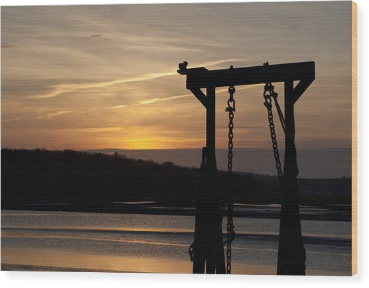 Sunset Barge  Wood Print by Eugene Bergeron