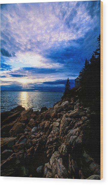 Sunset Bass Harbor Wood Print