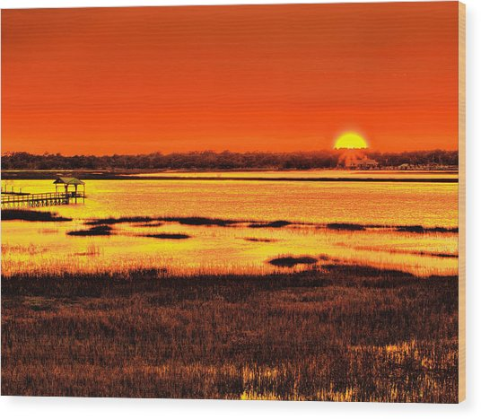 Sunset Bay Wood Print