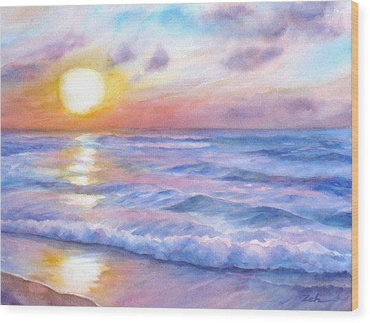 Sunset Beach Hawaii Seascape  Wood Print