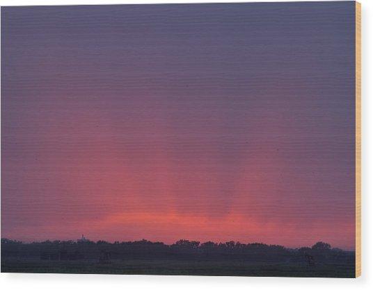Sunset Beams Wood Print