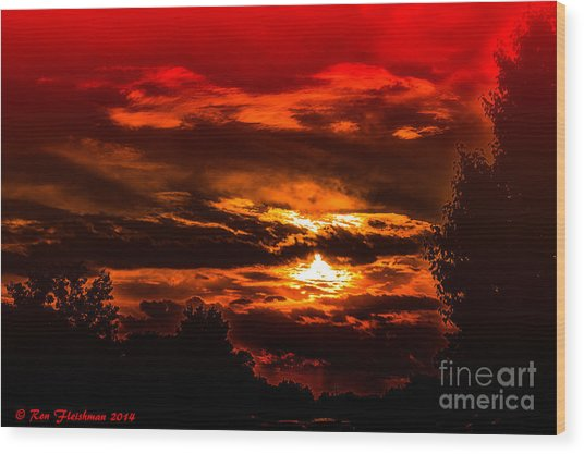 Sunset Before The Storm Wood Print by Ron Fleishman