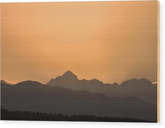 Sunset Behind The Julian Alps Wood Print