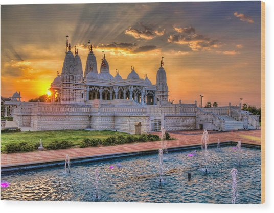 Sunset Behind The Mandir Wood Print