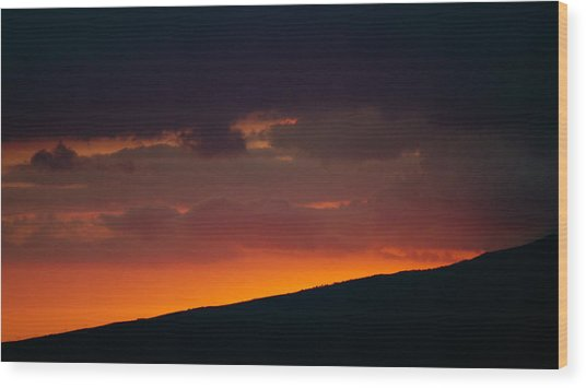 Sunset Beyond The Waianae Mountain Range Wood Print