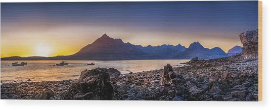 Sunset Black Cuillin Isle Of Skye Scotland Wood Print