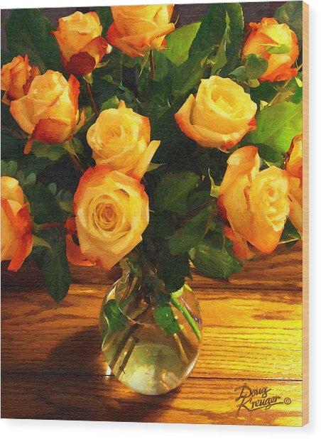 Sunset Bouquet Wood Print